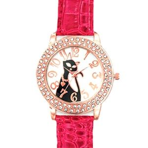 Cat Dial Watch Red Leather Band Crystals
